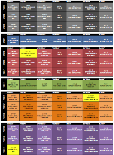 P90X / INSANITY HYBRID CALENDAR AND WORKSHEET | full circle lifestyle